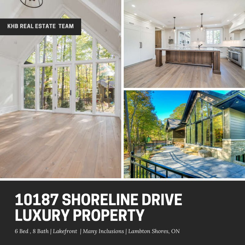 10187 Shoreline Drive!! #luxury Southcott Pines year-round #custom #home #forsale in Grand Bend.  6 bed, 8 bath, 6000 sqft. From cabinetry and finishes, to the exterior-Cobble Stone landscaping, has been meticulously thought over. A Must See!  Contact: info@khbrealestate.com