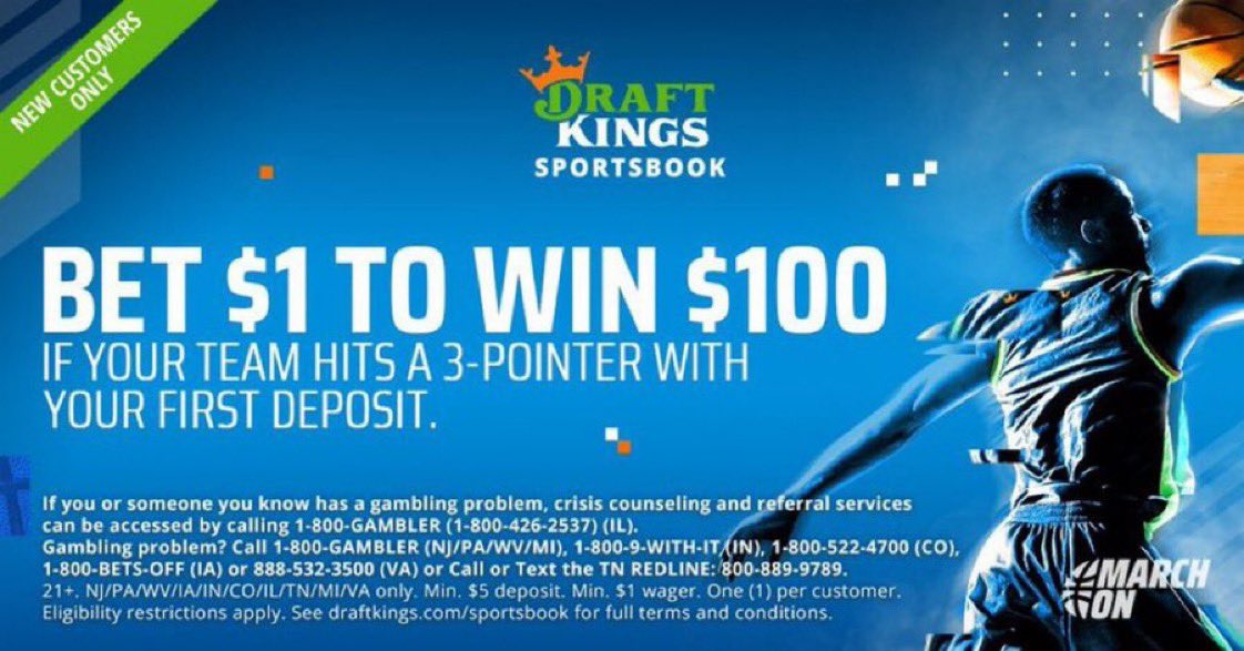 🚨GET 100-1 ON TONIGHT'S LAL-GSW GAME🚨  Tonight 🏆  Bet $1 ➡️ 1 Lakers 3-pointer = Win $100   OR 🤔  Bet $1 ➡️ 1 Warriors 3-pointer = Win $100  Simple. As. That. 📈  LAST DAY OF PROMO ⬇️  Make your DraftKings at https://t.co/aJdqVg6hur (T&Cs Apply)💰 https://t.co/YapIUUouWv
