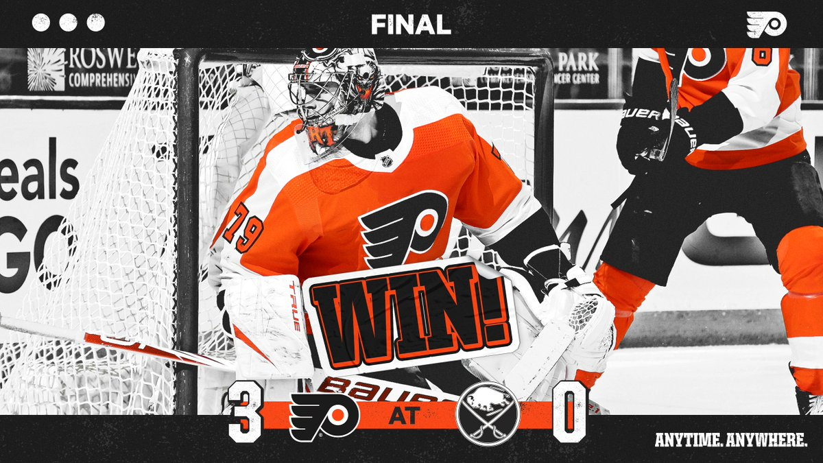 Replying to @NHLFlyers: 🔶 FLYERS WIN 🔶  BACK-TO-BACK SHUTOUTS.  #AnytimeAnywhere   #PHIvsBUF