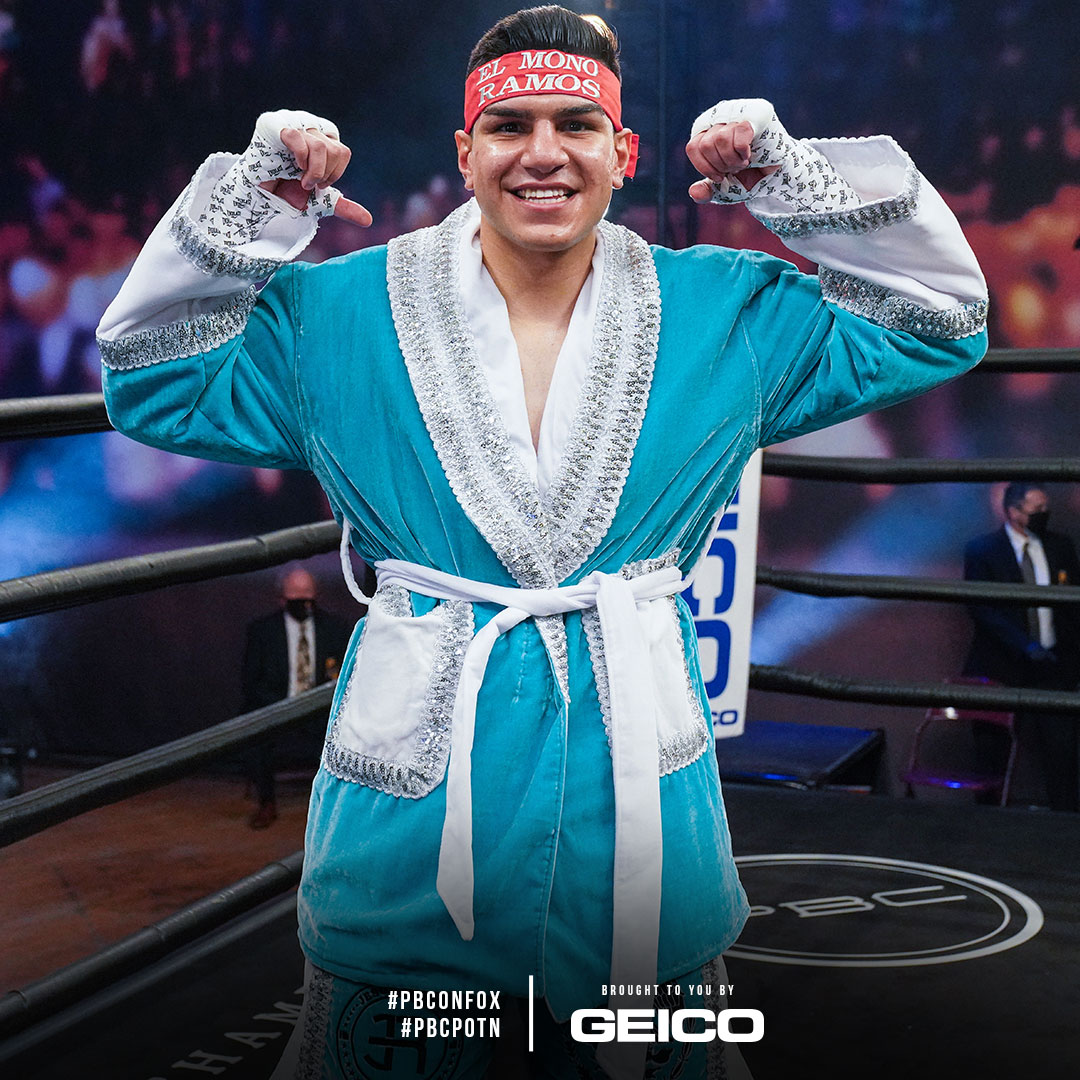 #PBCPOTN presented by @GEICO: 19-year-old rising welterweight star @ramos_jesus9 (15-0, 14 KOs) celebrates another impressive performance after scoring his 14th KO in last night's co-main bout! #RamosBojorquez #PBConFOX  For #RamosBojorquez Highlights: