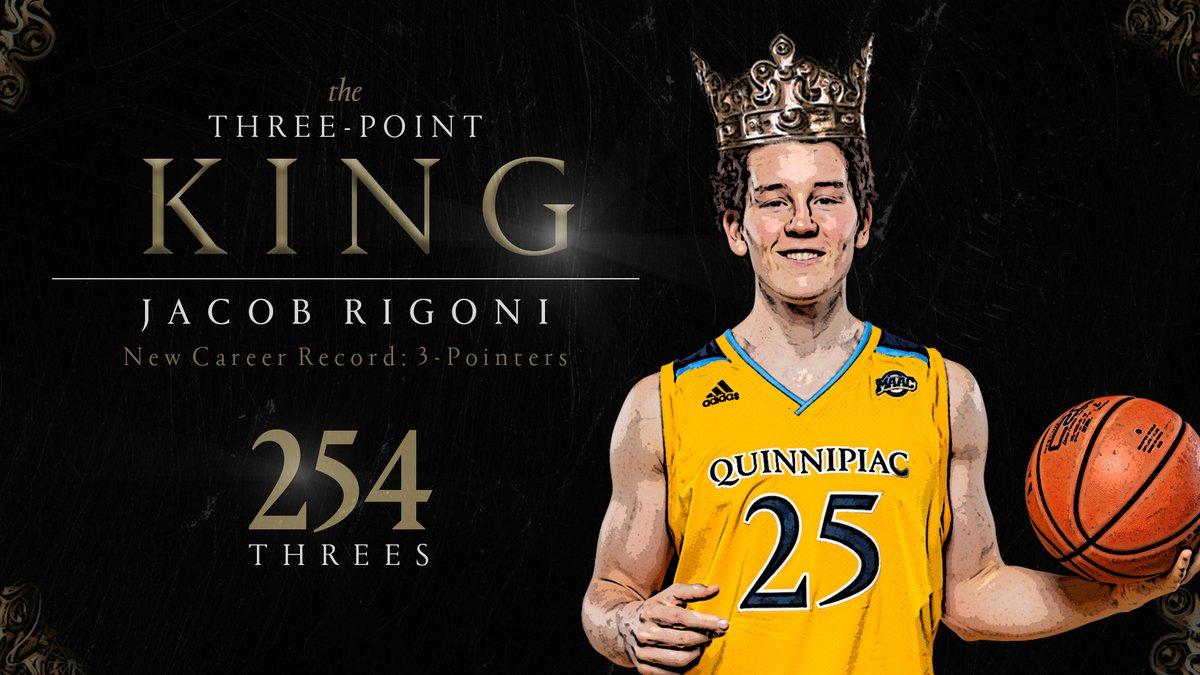 𝗔 𝗡𝗘𝗪 𝗧𝗛𝗥𝗘𝗘-𝗣𝗢𝗜𝗡𝗧 𝗞𝗜𝗡𝗚 👑😼👌 Rigoni now has 254 career three-point field goals, setting a new Quinnipiac program record! Congrats, @JacobRigoni! #BobcatNation #Attitude