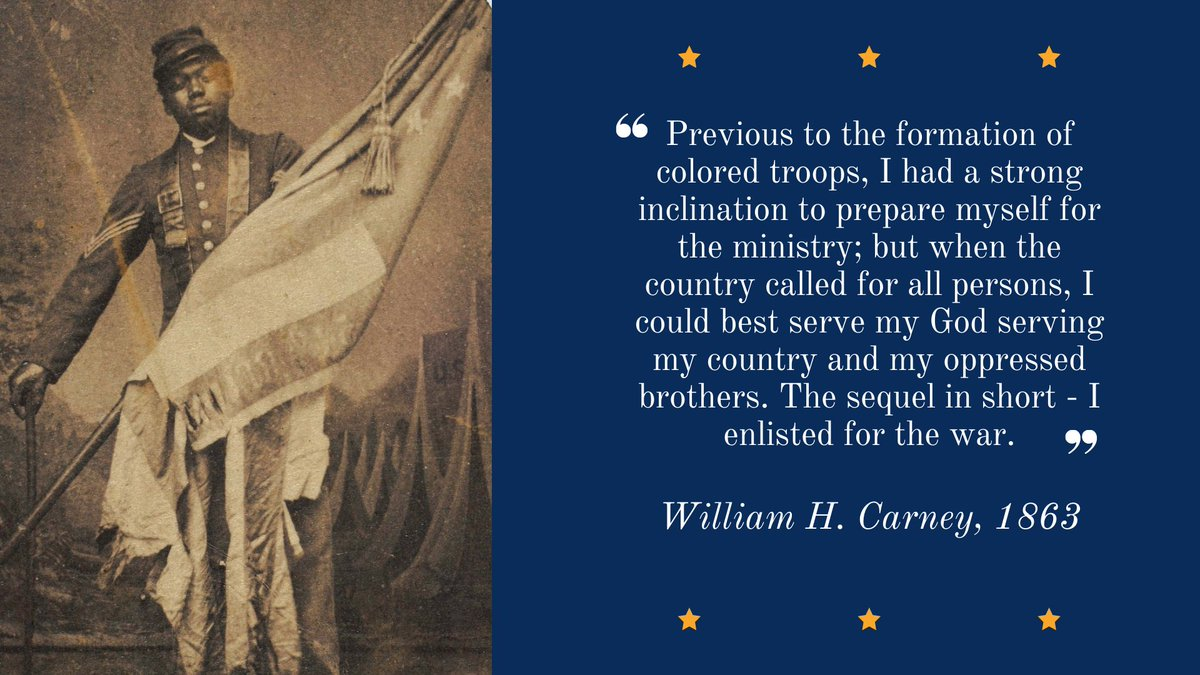 William Harvey Carney was born into slavery and escaped to New Bedford via the Underground Railroad. He joined the 54th Massachusetts Infantry and was the first Black soldier to earn the Medal of Honor for valor in the July 1863 assault on Fort Wagner. https://t.co/egnLoOJyOl