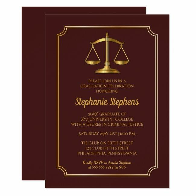 Elegant Maroon Gold Law Attorney Graduation Party Invitation #law #lawyer #attorney #legal #graduate #Invitation