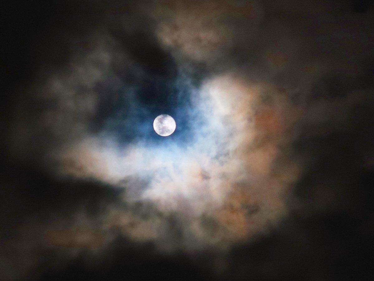 昨夜の十六夜は妖しいくらい美しかった。月暈でたり彩雲になったり、くっきりお月さんでてきたりと展開がめまぐるしい♬ イイね♪月が綺麗でしたよ♬  月を見上げて何を思う? 誰を想う?  #moon #moonnight #十六夜 #イマソラ #ダレソラ #sky #night