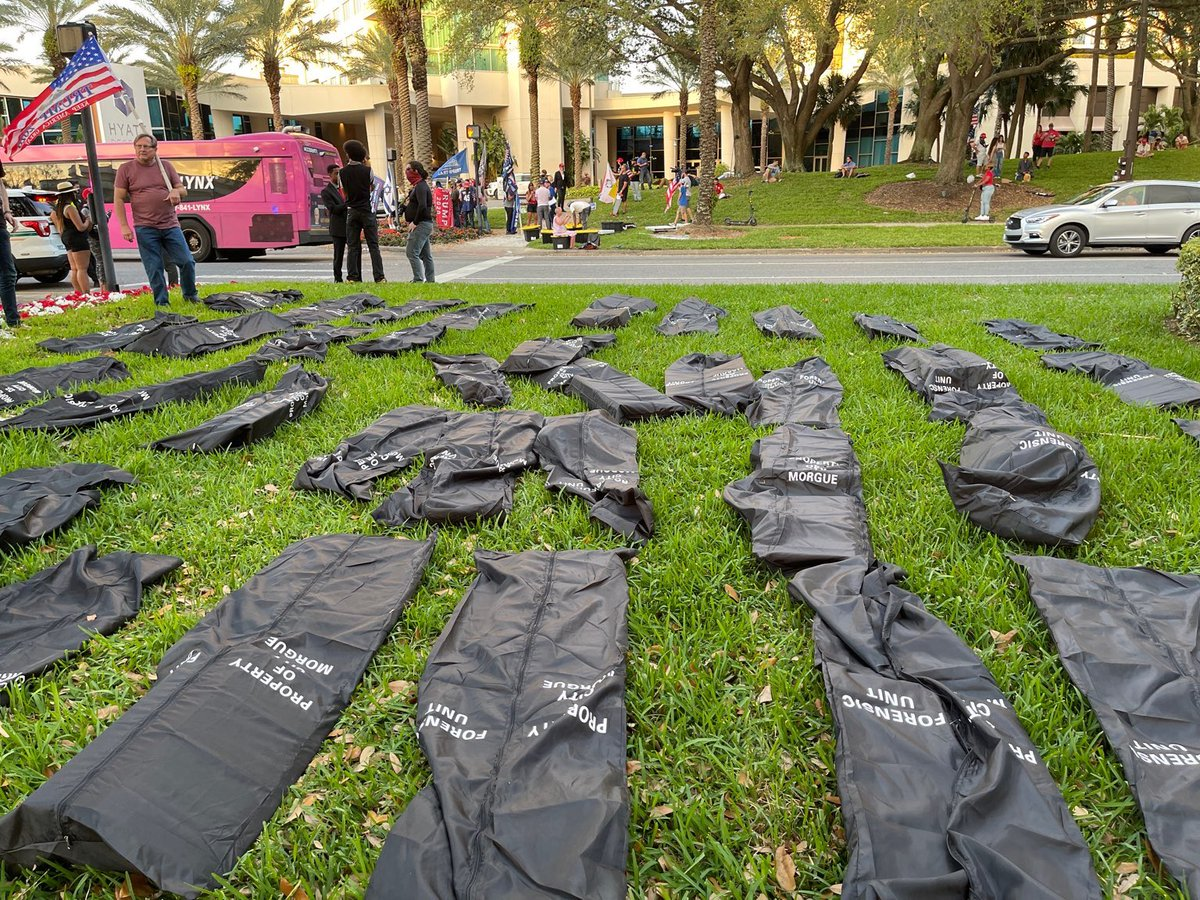 We have put out 500 body bags outside of CPAC as a reminder of the 500,000+ Americans we have lost.