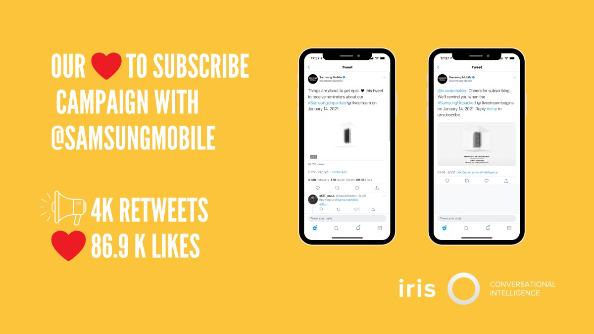 Our campaign with @samsungmobile saw some epic reach. A ❤️  to subscribe for the #SamsungUnpacked livestream saw thousands joining the event 👀🎉. Our new Twitter Marketing Automation now makes it even easier for you to roll out campaigns like this! Give us a shout to demo today!