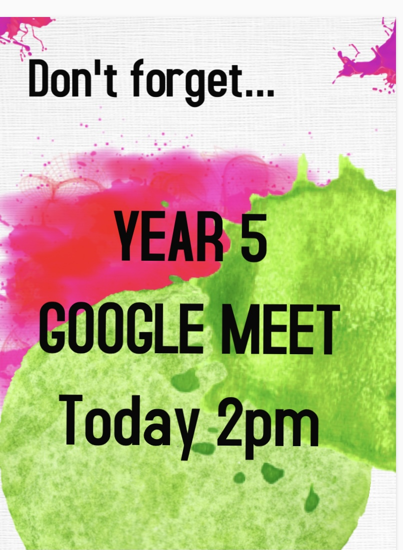 Please remember to help your child log on to Google Meet this afternoon. Their classmates and teacher are looking forward to seeing them. https://t.co/kjc4fcs5H4