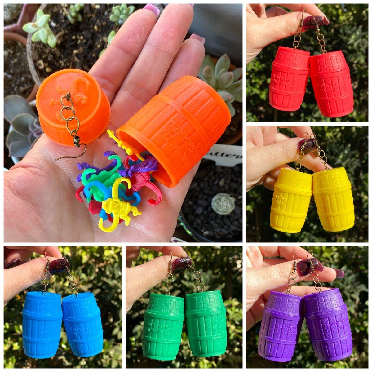 Barrel of Monkeys Earrings #smallbusiness #shopsmall #jewelry #handmadejewelry #handmade #womanowned #shop #forsale #weirdearrings #lesbianearrings #makers