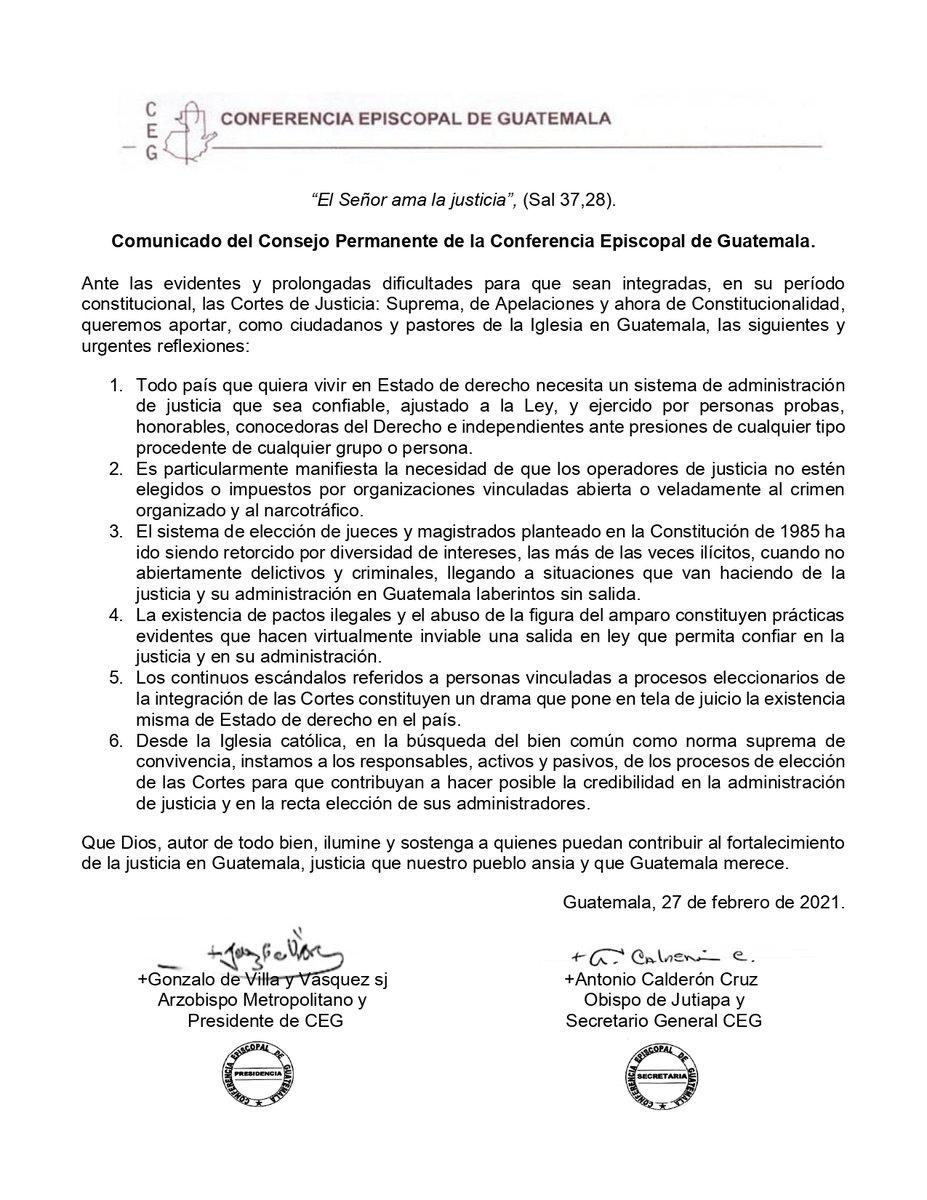 """test Twitter Media - La Conferencia Episcopal de Guatemala, emitió el comunicado """"El Señor ama la justicia"""", en el cual plasman su postura respecto a la integración de la CSJ, Cortes de Apelaciones y el proceso de designación a la CC. https://t.co/iW2CKoDSnJ"""