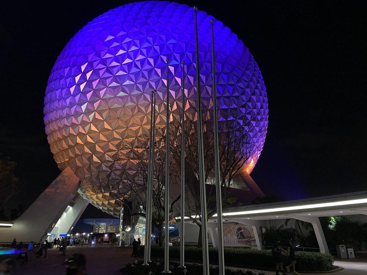 New flag poles on both sides of the Epcot Entrance Fountain.   #DisneyWorld #Epcot
