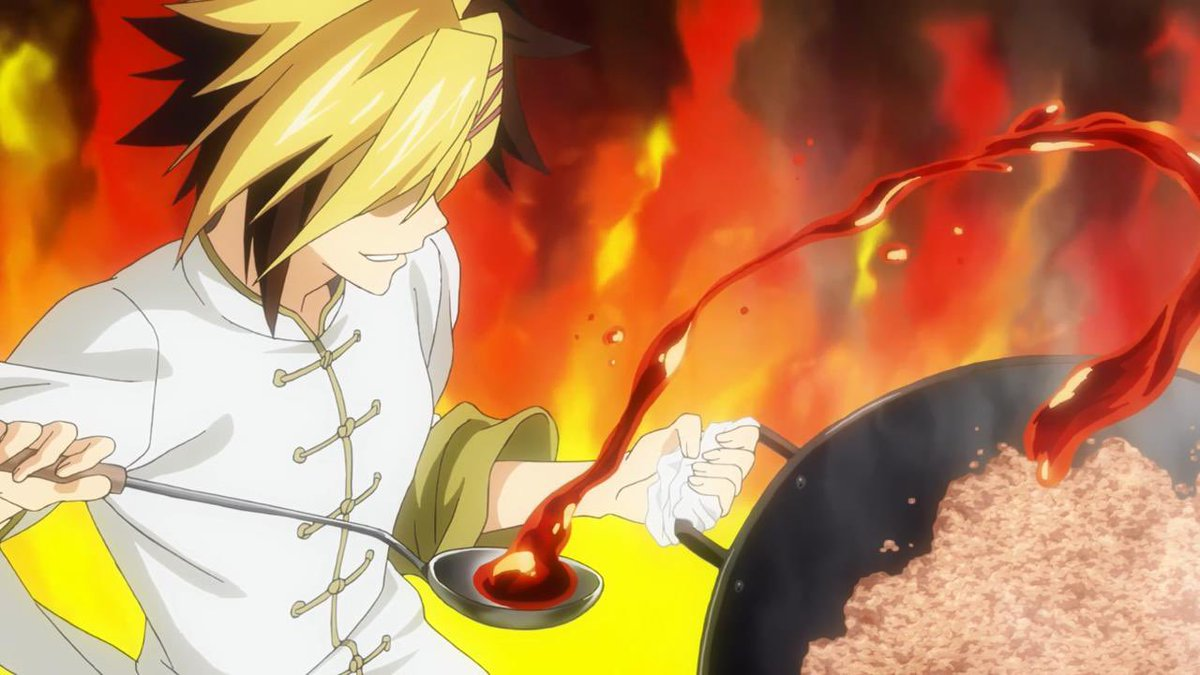 #FoodWars is back on #Toonami and bringing the heat🔥 Quite literally, too, with Kuga's spicy mapo doufu. The animation looks good enough to eat! 😋