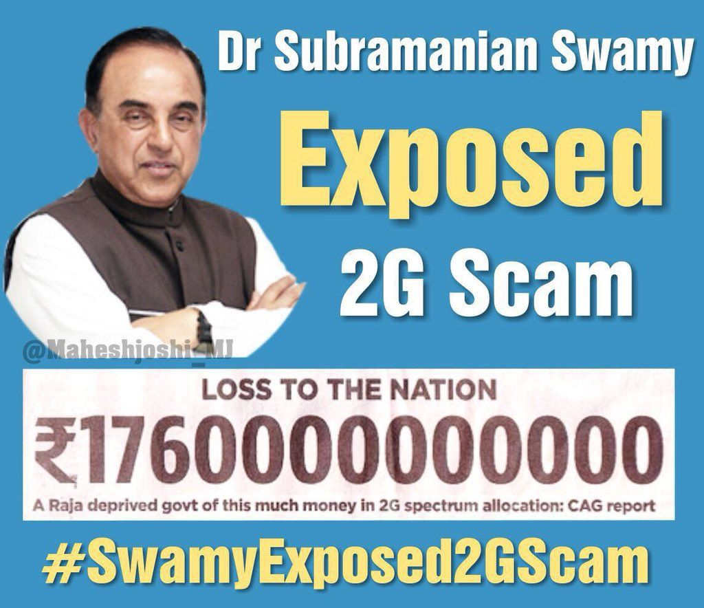 "@nviswam @Swamy39 Dr. @Swamy39 jee's historic 2G-victory in Supreme Court (Feb 2012) won the ""perception battle"" for BJP in LS-2014 Elections, and BJP stormed to power with single-party majority in 2014.. Dr. Swamy jee and Nitin Gadkari jee wrote the vision document for BJP in LS-2014 elections.."