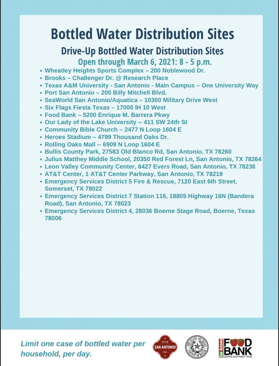 The City of San Antonio, @BexarCounty and @safoodbank will continue to operate bottled water distribution sites through March 6, 2021.