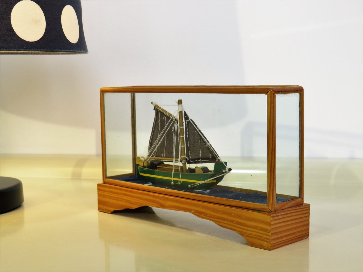 Vintage Ship Model in a Box made of Wood, Vintage Ship Model, Sailing Ship in Glass Bottle with Wooden Pedestal, Memorabilia, 70s  #Wedding #covid19 #Homedecor #Gifts #lockdown #Mothersday #SPRING #Vintage #Clothes #Glass