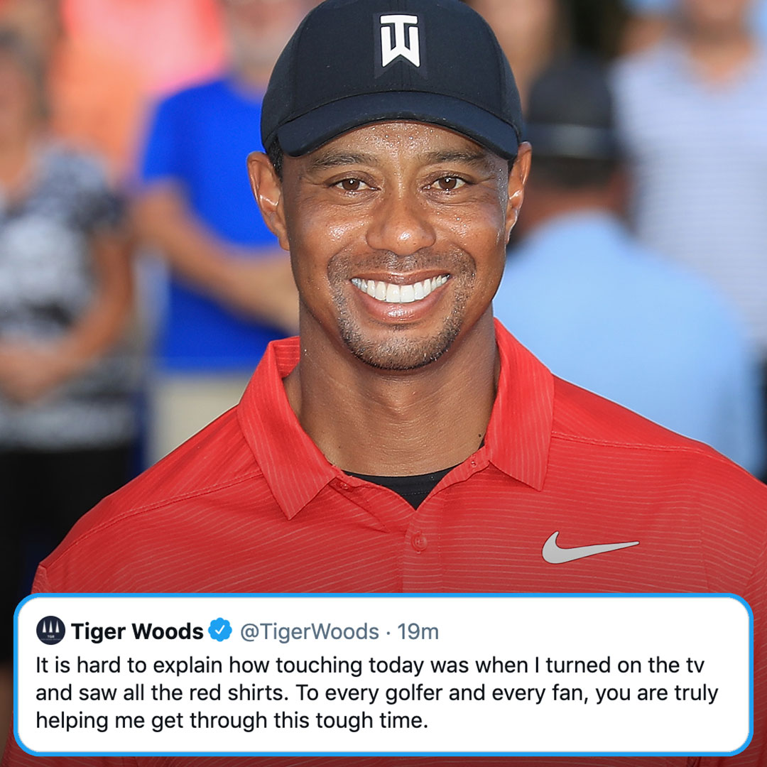 RT @GolfChannel: Tiger Woods saw all of those Sunday Red shirts. ❤️ https://t.co/zgr5hptY3J