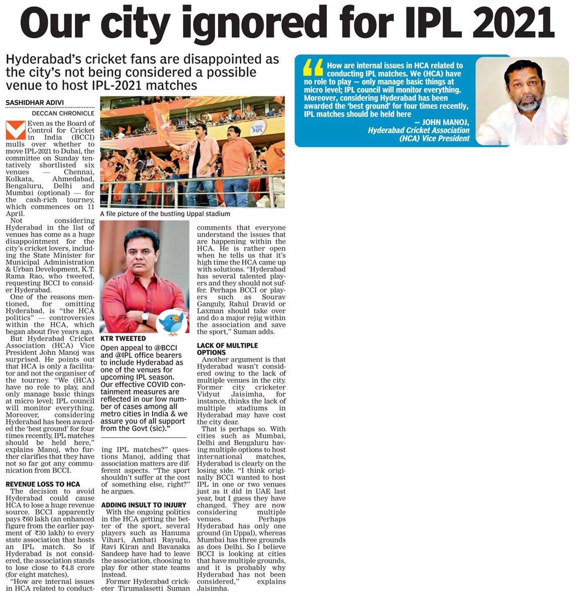 . #Hyderabad ignored for #IPL2021 ?   @DeccanChronicle @KTRTRS @MinisterKTR #IPL #IPL2021Auction #KTR #cricketnews #cricketground