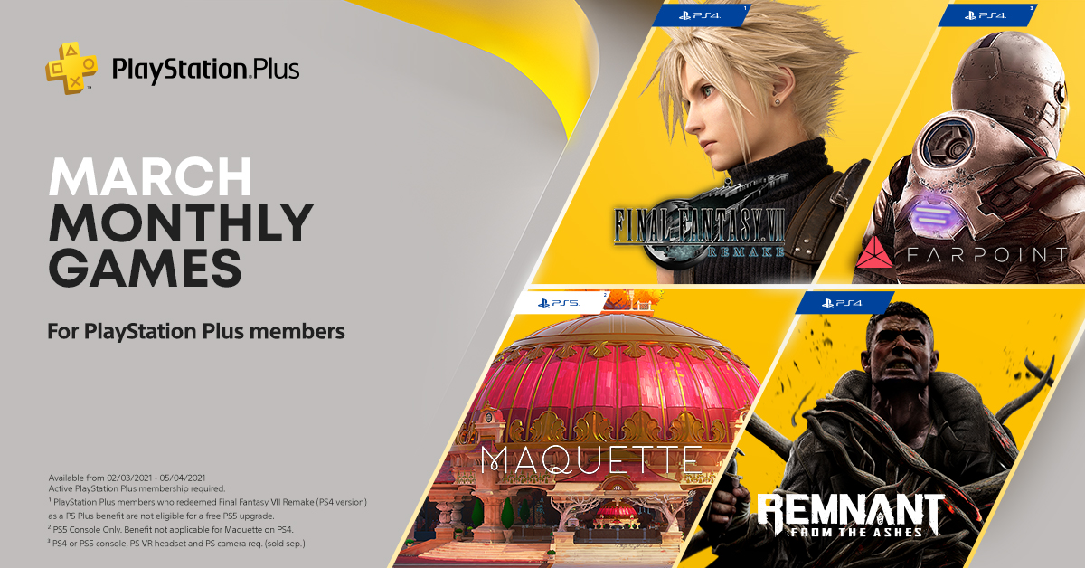 Your March PS Plus games: Final Fantasy VII Remake, Remnant: From the Ashes, Maquette and Farpoint – VR: https://t.co/eX2cyHSp7c https://t.co/L1YwxQwwzc