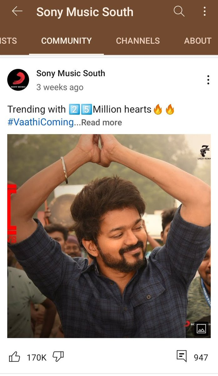 170K Likes for Youtube Community Post 🔥🔥  Highest in @SonyMusicSouth Youtube Channel  #Master @actorvijay