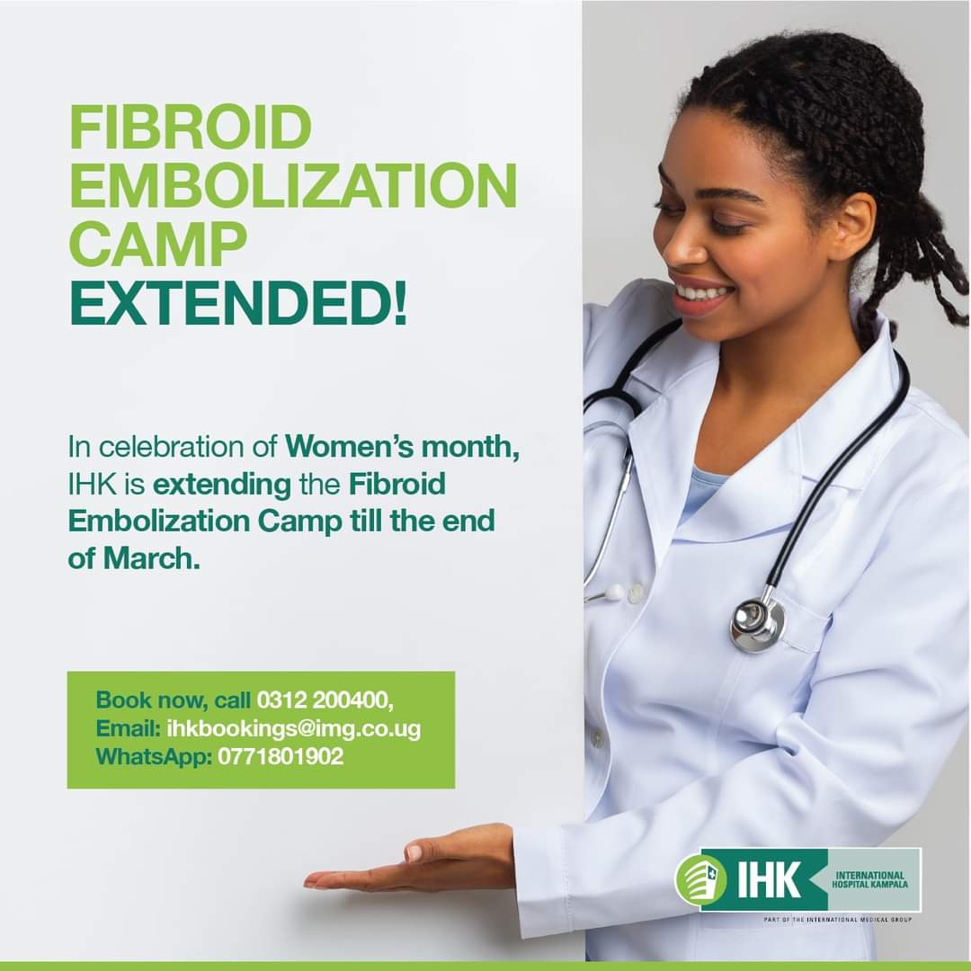 In celebration of Women's month, we are extending the Fibroid Embolization Camp till the end of March. Book an appointment now on 0312200400, email ihkbookings@img.co.ug and WhatsApp 0771801902. https://t.co/FGK415k7Pm