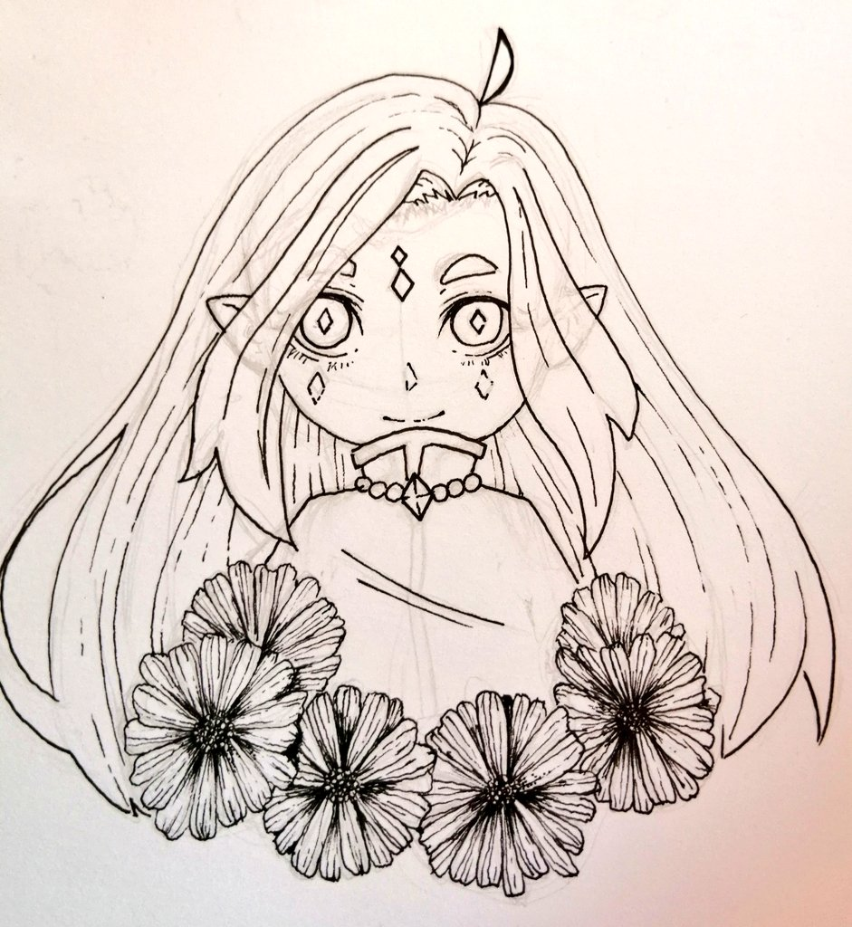 Henlo guys? How r u? Just posting unfinished art of my little flower elf. What color will suit her?? #drawings #Sketching #AnimeArt #anime #fantasy #ArtistOnTwitter #artwork #elfgirl #Flowers