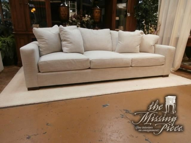 With a classic silhouette and soft, woven fabric upholstery, this Havertys sofa is the prefect fit to your room. Measures 96*48*37 in a natural color.  We have two at time of posting.  #themissingpiece #furniture #consignment #tampa #florida #palmharbor
