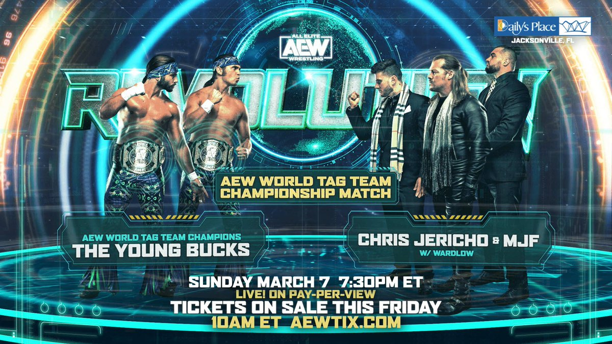 The Young Bucks       MJF and Jericho                                 🤝               Psychology experts who are going to put on a heck of an entertaining         match next Sunday during #AEWRevolution 😌😌😌 I can't wait! I  wish Revolution was sooner!