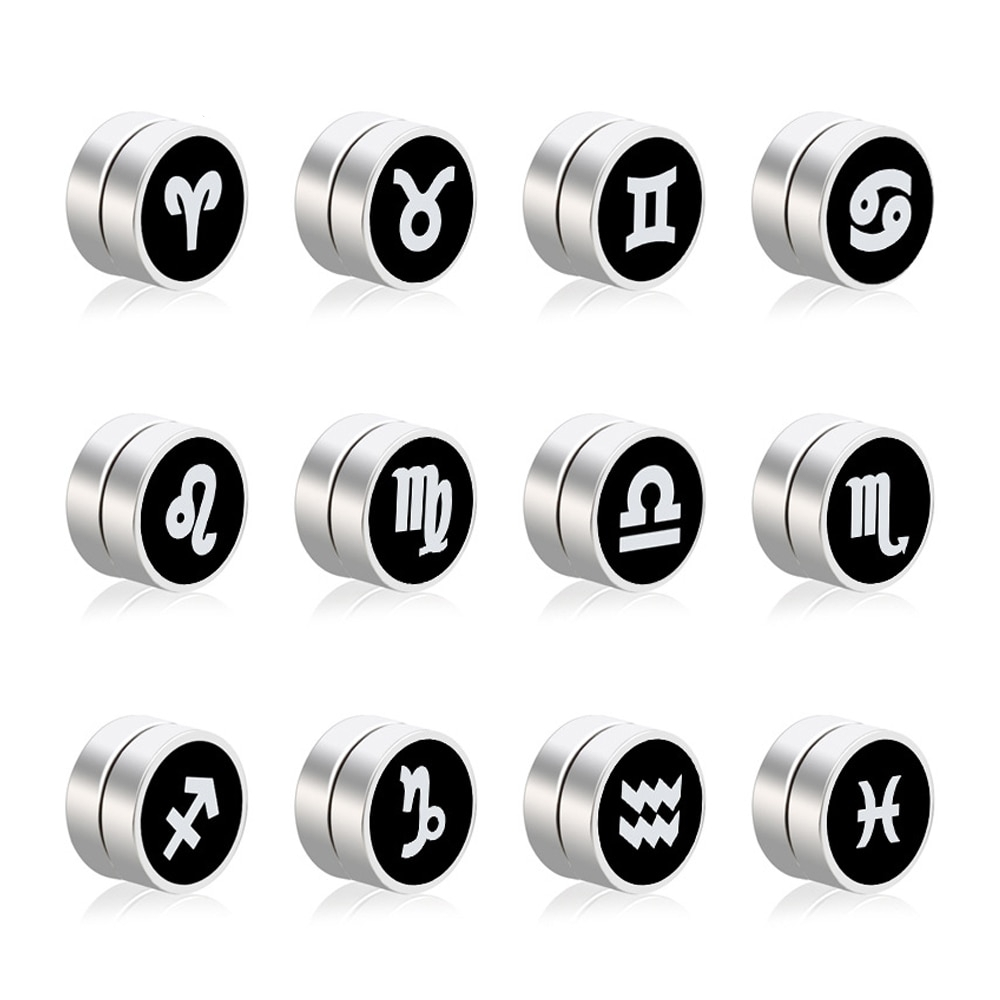 Men's Stainless Steel Magnetic Zodiac Printed Earrings #instadaily #fashionista