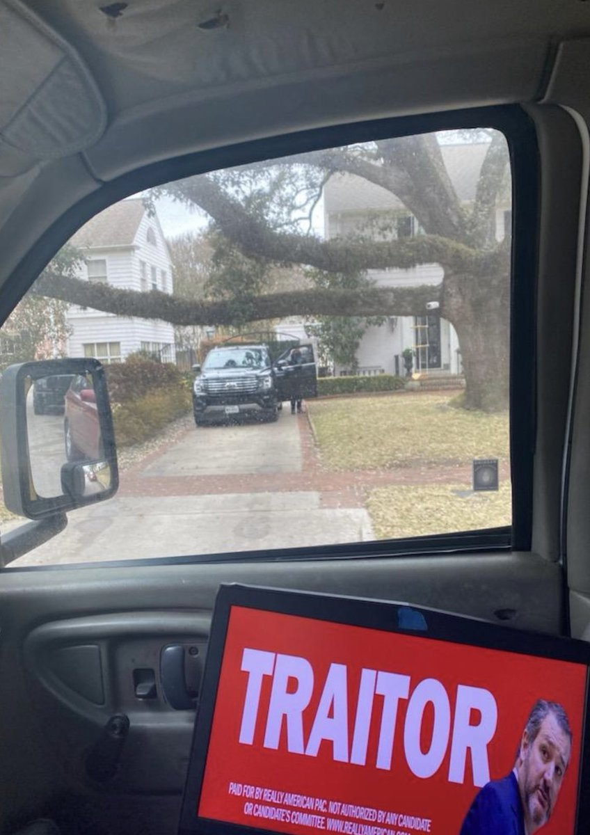 There were law enforcement outside Cruz house so our driver couldn't get out of the van to take a photo but we parked in front of Ted Cruz house today and got a photo of him coming back from church from our billboard truck calling him a traitor.