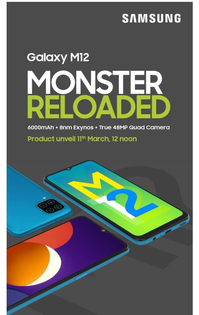 "Samsung Galaxy M12 Launching on 11th March Listed On Amazon  💢6.51"" inch display 📱90Hz Refresh Rate 🎱Samsung Exynos 850 (8nm)  📸48MP (ISOCELL GM2) Quad Rear Camera 🔋6000mAh battery #Samsung #samsunggalaxya52 #SamsungUnpacked #GalaxyA51 #GalaxyS215G #GalaxyS21Ultra5G"