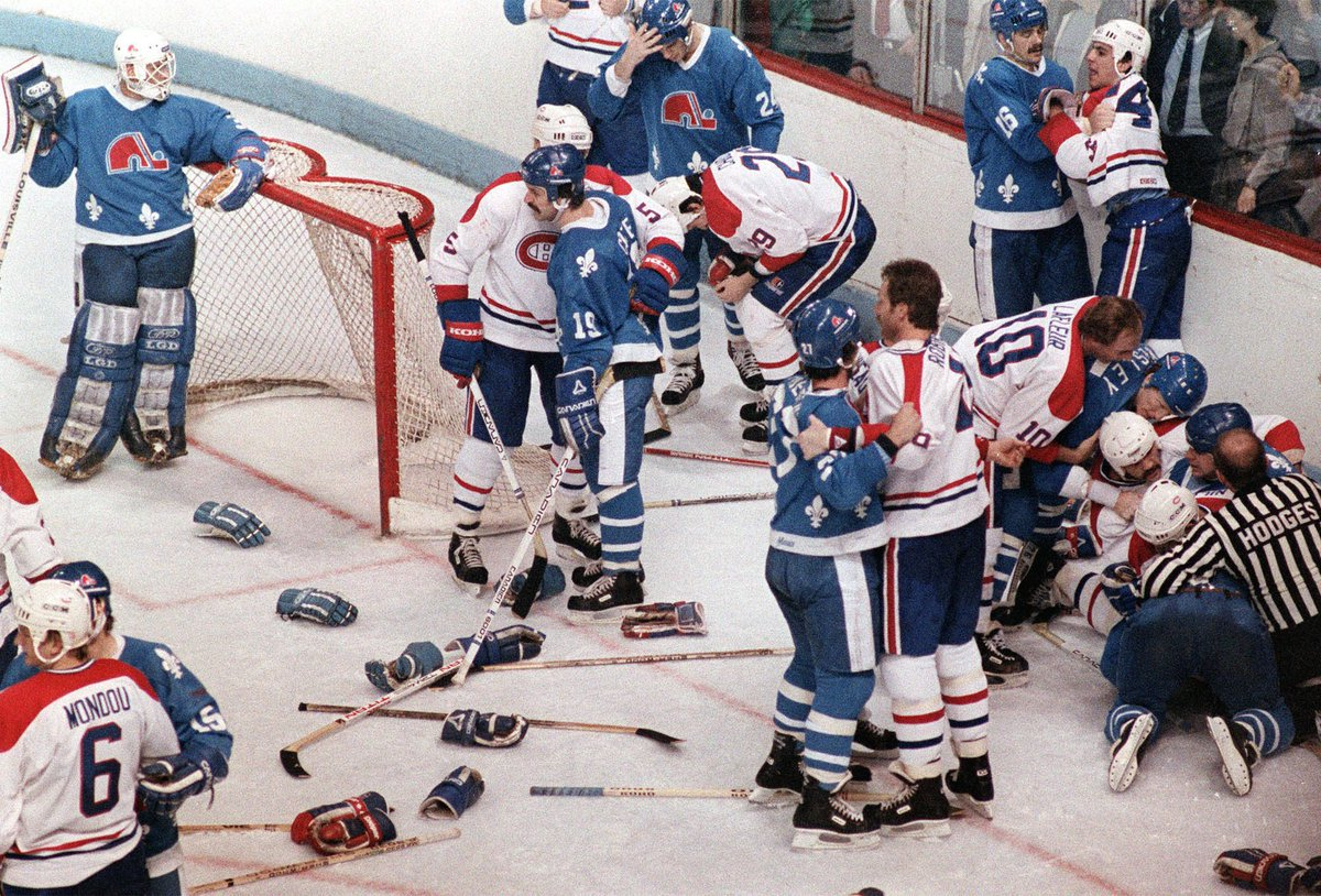 Absolute mayhem breaks out during a Quebec Nordiques and Montreal Canadiens contest in 1984. #GoHabsGo
