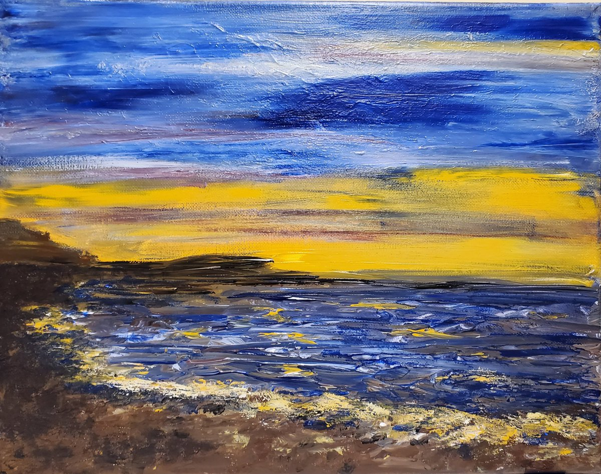 """Twilight Twinkle"" 11 x 14 #acryliconcanvas  of  #beachlife #Reeves  #sunset"