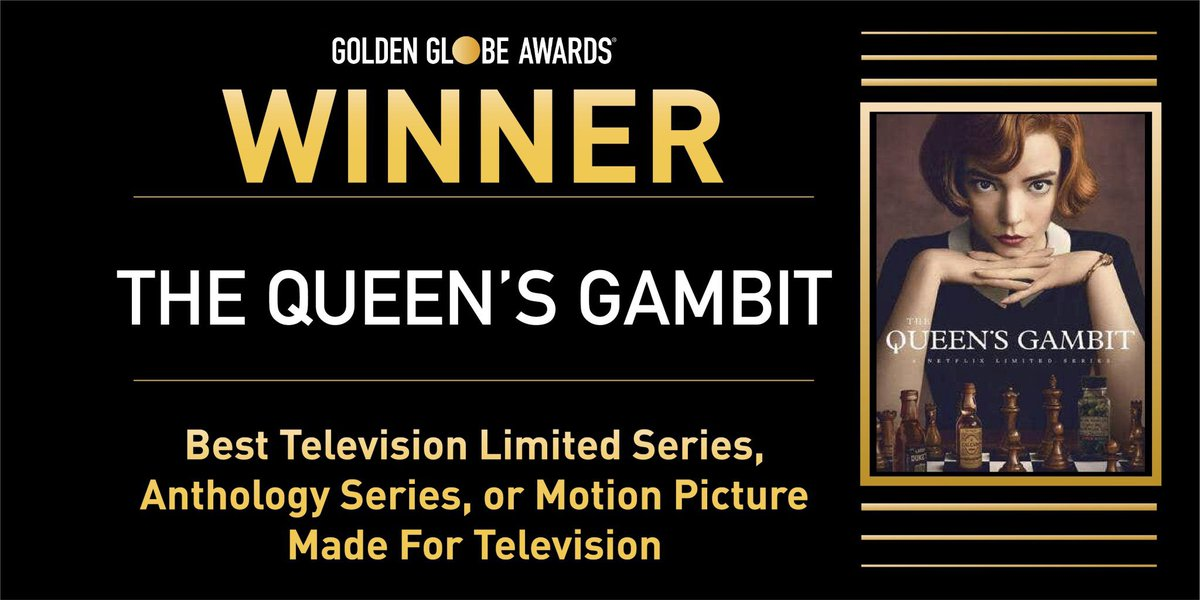 "'The Queen's Gambit' wins ""Best Television Limited Series, Anthology Series, or Motion Picture Made for Television"" at the #GoldenGlobes"