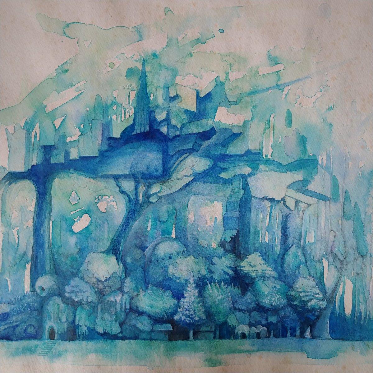 「思考の森 Forest of thought」水彩 #watercolor  #青 #水彩 #森 #forest #絵画  #城 #castle  #ドローイング #廃墟 #blue  #haikyo #光  #forgottenplaces  #painter #green #緑 #碧 #木 #tree #階段 #stairway  #花 #flowers #Cobaltblue #cobalt