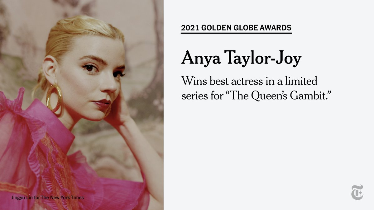 "Anya Taylor-Joy wins best actress in a limited series for ""The Queen's Gambit"" at the #GoldenGlobes. ""Her deep passion for chess is the passion that I have for my art,"" Taylor-Joy said about playing the character."