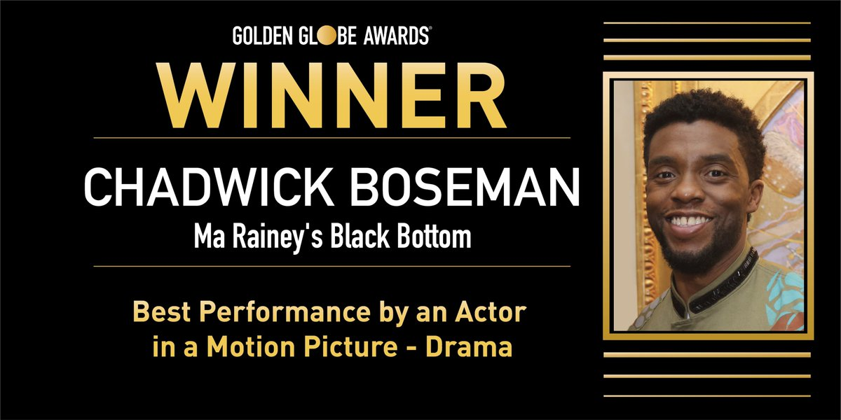 ✨ Mejor Actor (Película de Drama) - Chadwick Boseman  por 'Ma Rainey's Black Bottom'.  #GoldenGlobes