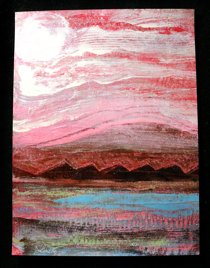 """""""THE FROG."""" 🐸 Linckescape Painting on Paper. 🎨 - Look closely, you'll find it... #Lincke #JamesLinckeCreations #art #artist #painting #landscape #illustration #paper #frog #sky #mountains #abstractart #Abstract #abstractexpressionism #pink #acrylicpainting #beauty #imagination"""
