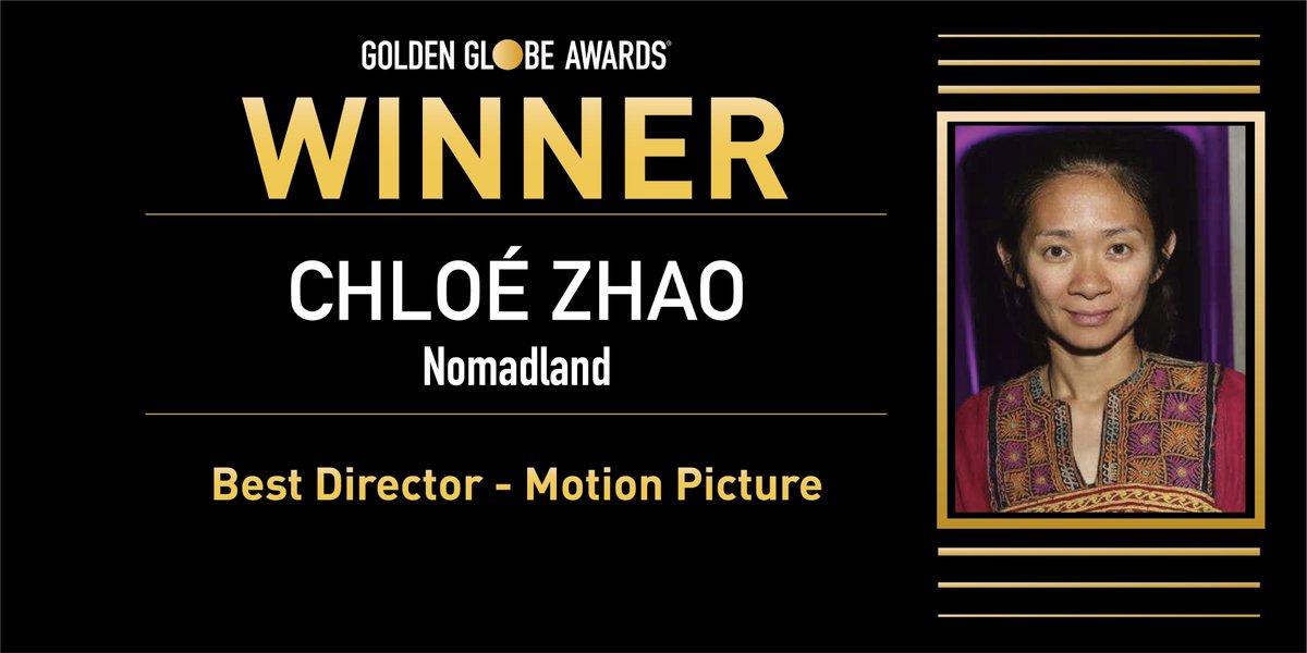✨ Mejor Dirección (Película) -  Chloé Zhao por 'Nomadland'.  #GoldenGlobes