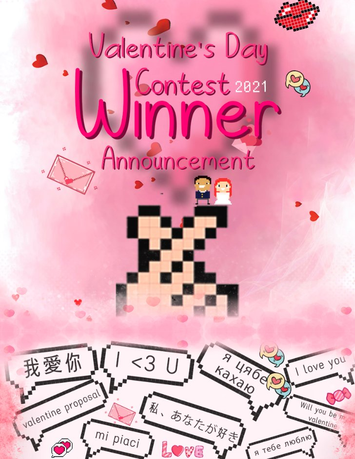 Winner announcement for our pixel art #ValentinesDay contest! Thank you for your submissions, and congratulation to all winners!  **Our Dida will be contacting the winners in APP.  NOTE: If you have any questions, please contact Dida in the Divoom APP.