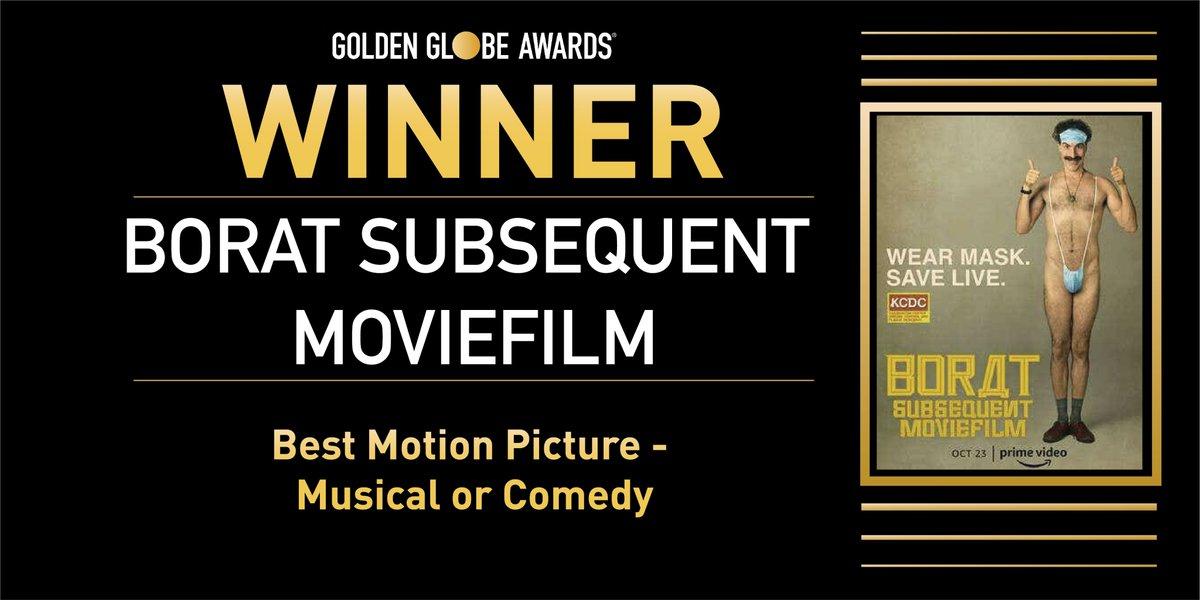 ✨ Mejor Película (Comedia/Musical) - 'Borat 2'.  #GoldenGlobes