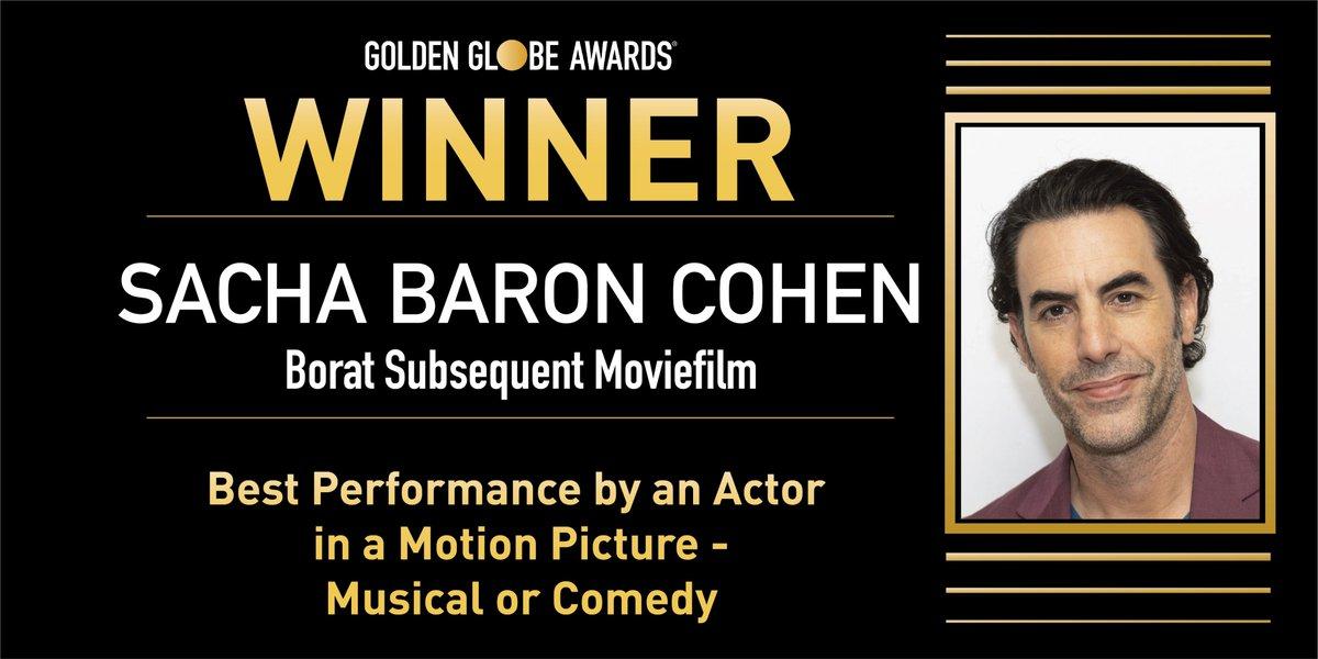 ✨ Mejor Actor (Película Comedia o Musical) - Sacha Baron Cohen por 'Borat 2'.  #GoldenGlobes