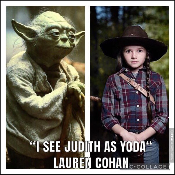 """""""I see Judith as Yoda."""" I mean she is incredibly wise for her age. #TWD #TheWalkingDead #TWDFamily"""
