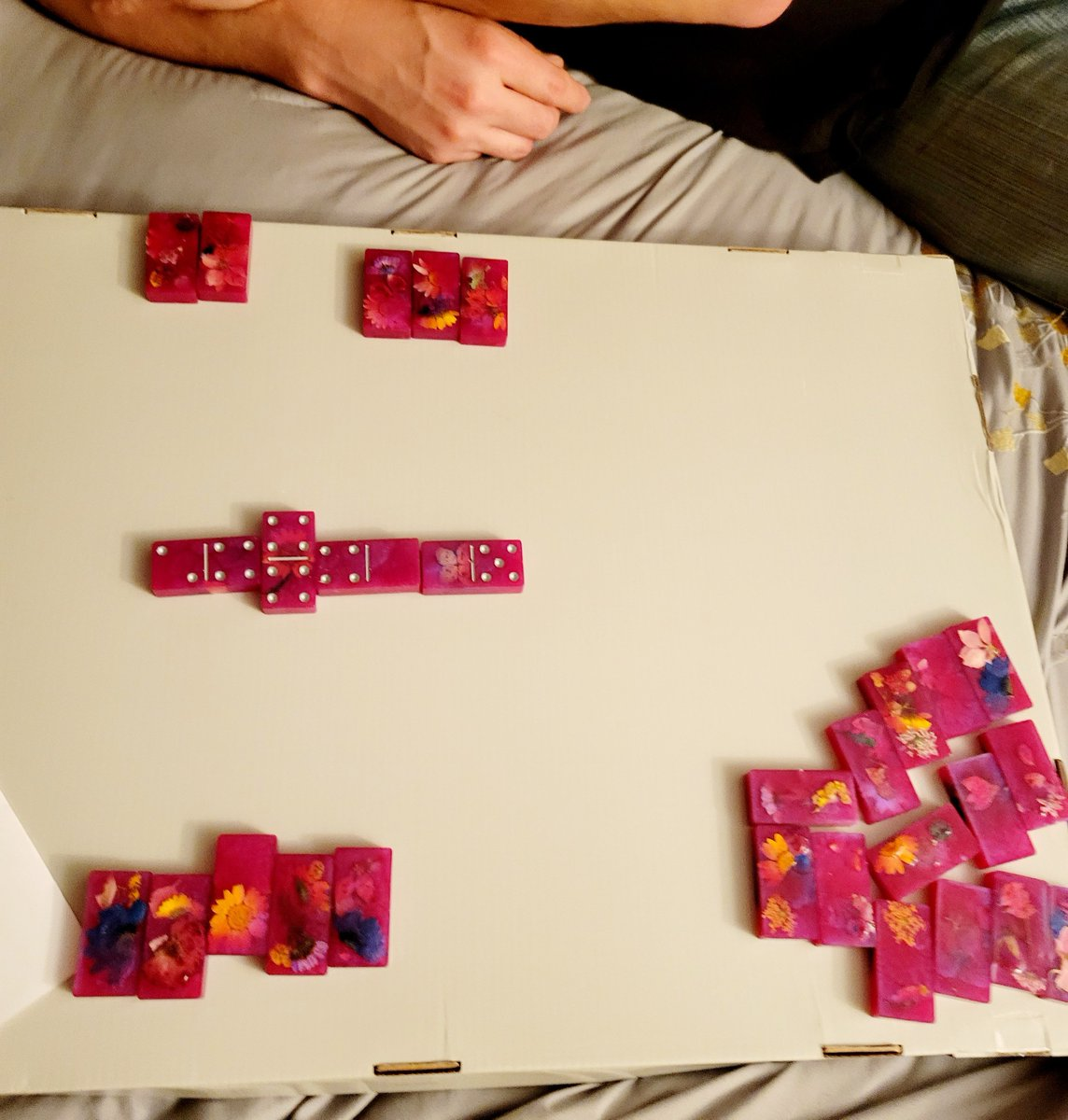 Okay so I love the #dominoes I made, I was so excited to beat my husband with my #pink dominoes and jinxed myself 🤣🤣🤣 Oh well I will get him next time!!