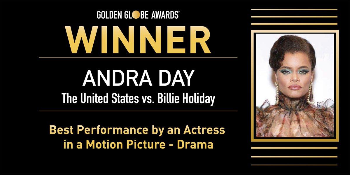 ✨ Mejor Actriz (Película Drama) - Andra Day por 'The United States vs Billie Holiday'.  #GoldenGlobes