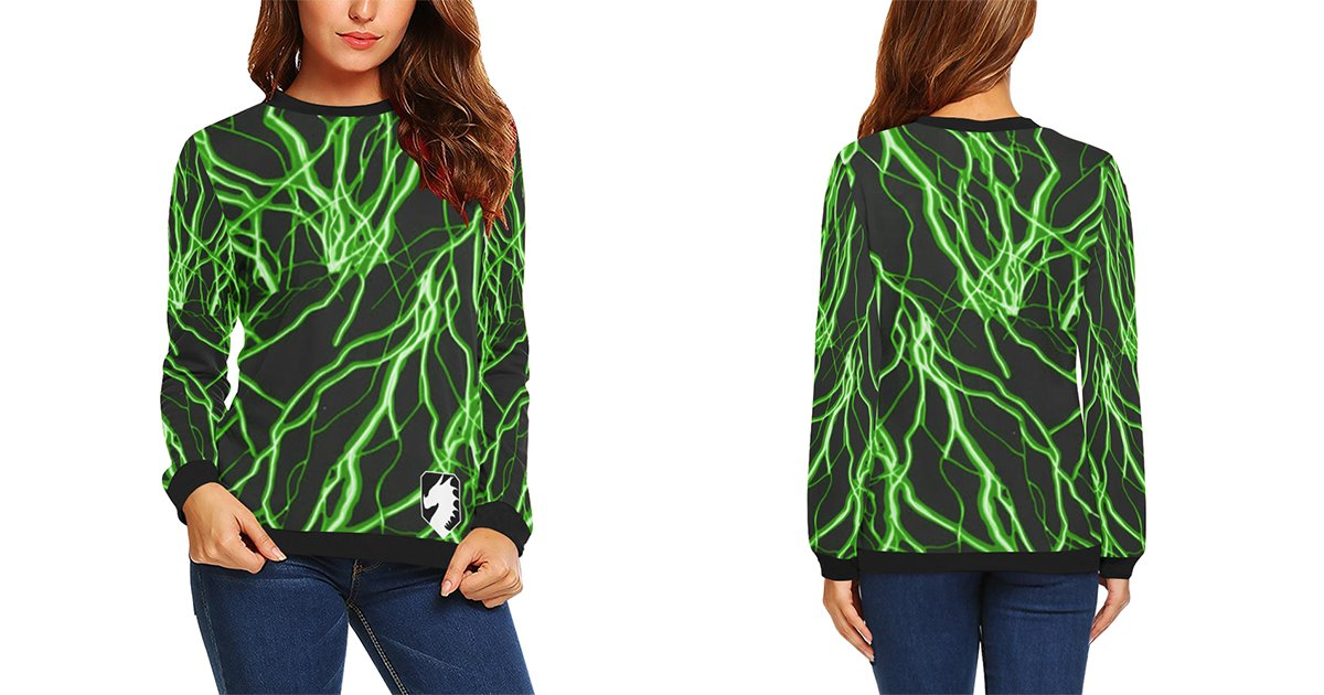 Here's the NEW Voltage Collection on women's sweatshirts.    #art #artist #artwork #artsy #sweater #fashion #green #blue #pink #red