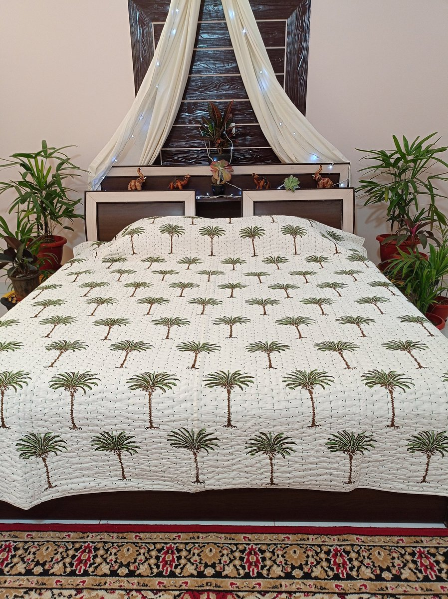 FAST Free Delivery !! Mother's Day Grand Sale !! #MOTHER02 #THANK01 #CODE123  Latest at #etsy shop: Hand Block Printed Dotted Palm Tree Kantha Quilt Bohemian Bedspread Ethnic Hand Stitched  Blanket ART#070 #white  #countryfarmhouse #queen #cotton