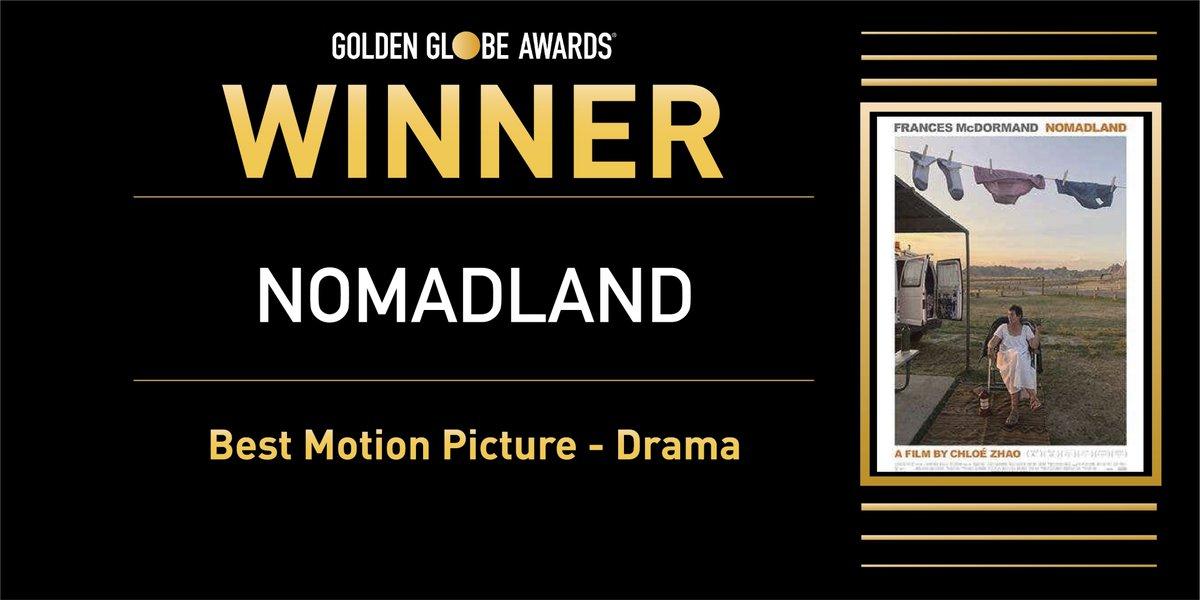 ✨ Mejor Película (Drama) - 'Nomadland'.  #GoldenGlobes