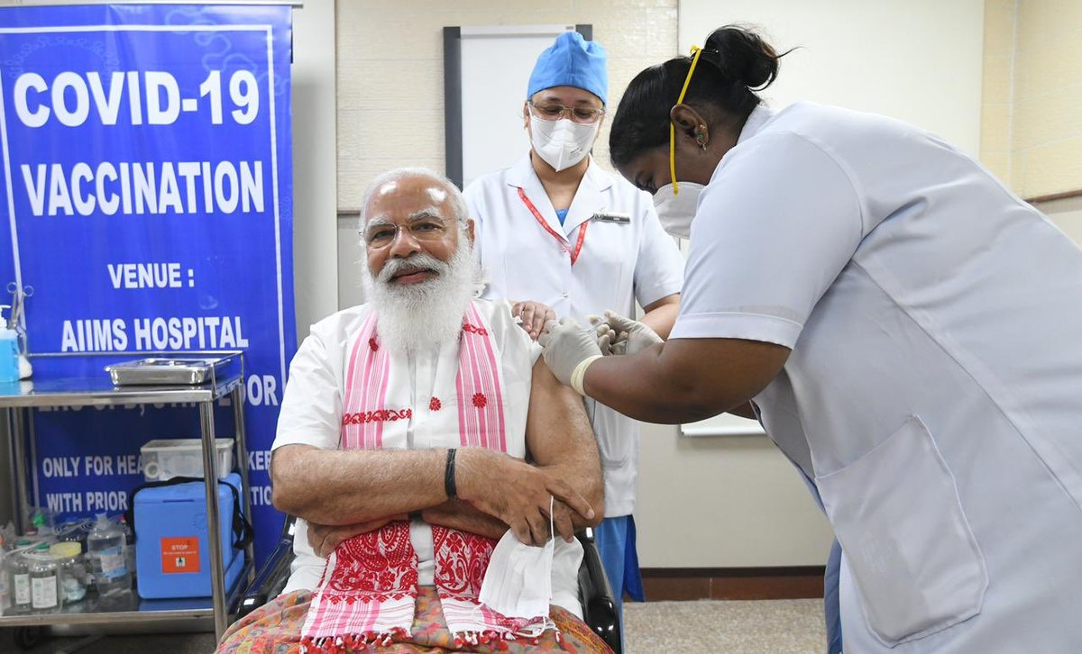 Honble PM Shri @NarendraModi Ji took his first dose of the #COVID19 vaccine. Proud moment for #Assam as he once again seen wearing Assamese Gamusa.