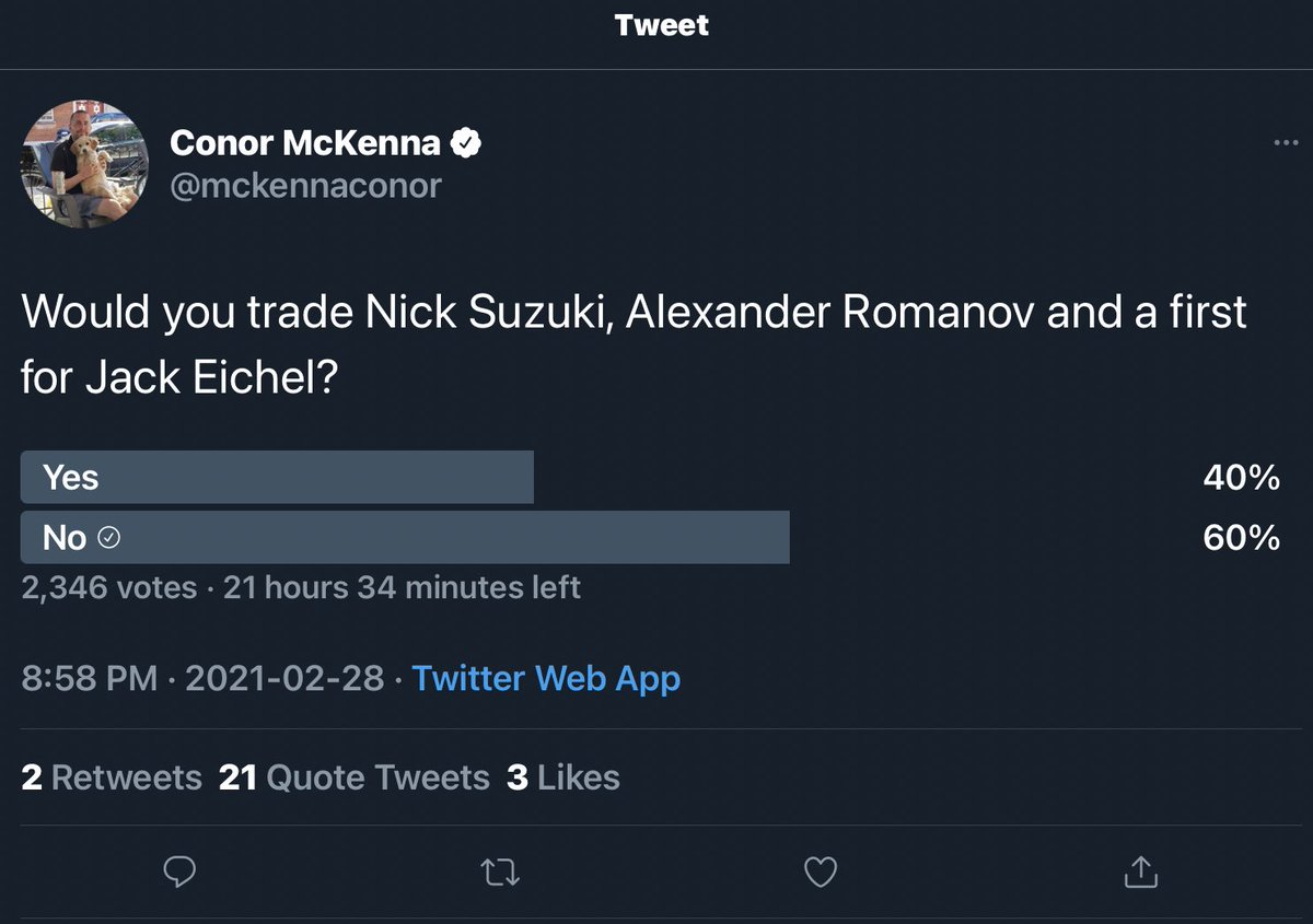 We ain't trading away Suzuki, Romanov and a first round ⛏️ this year, @mckennaconor!!!
