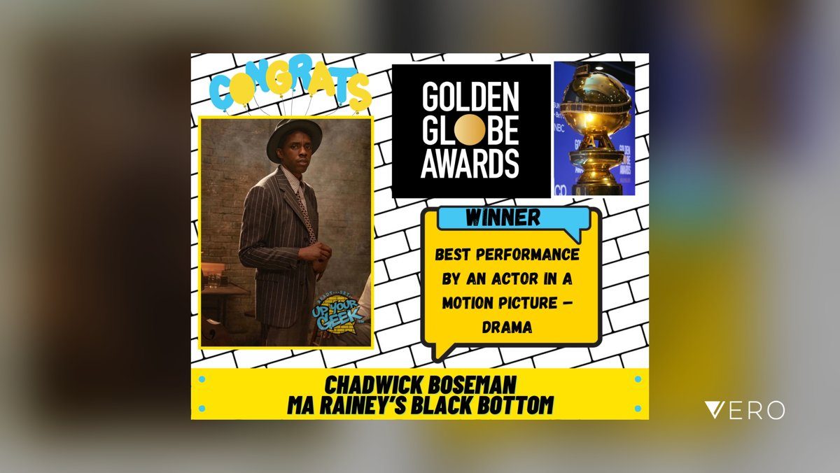 Congratulations!   Chadwick Boseman was posthumously named best actor in a motion picture, drama at the 78th annual Golden Globes on Sunday night for his role in Ma Rainey's Black Bottom.  #goldenglobes #chadwickboseman #maraineys…