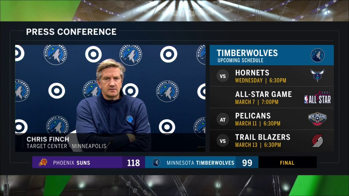 """I wouldn't read too much into any of the certain rotations that we've got right now. Part of this is learning for me.""  Chris Finch shares his thoughts on the #Timberwolves loss to the Suns."